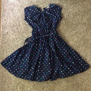 Lands End Girls size 6 polka dot dress